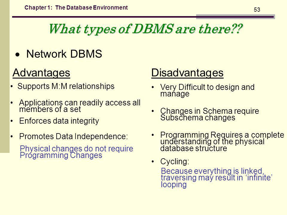 Chapter 1: The Database Environment 53 What types of DBMS are there?.