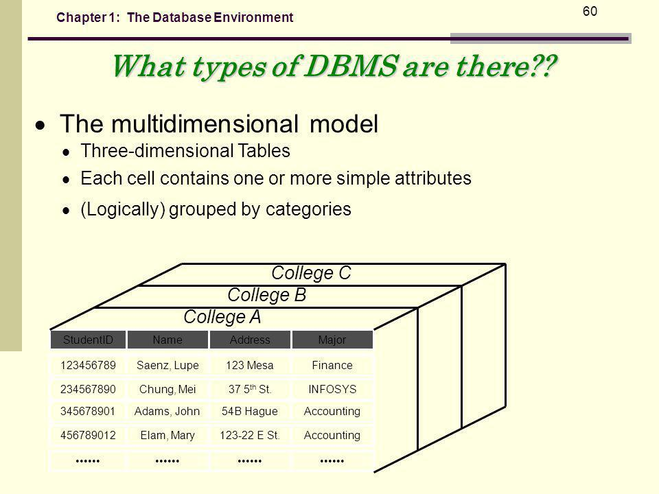 Chapter 1: The Database Environment 60 What types of DBMS are there?.
