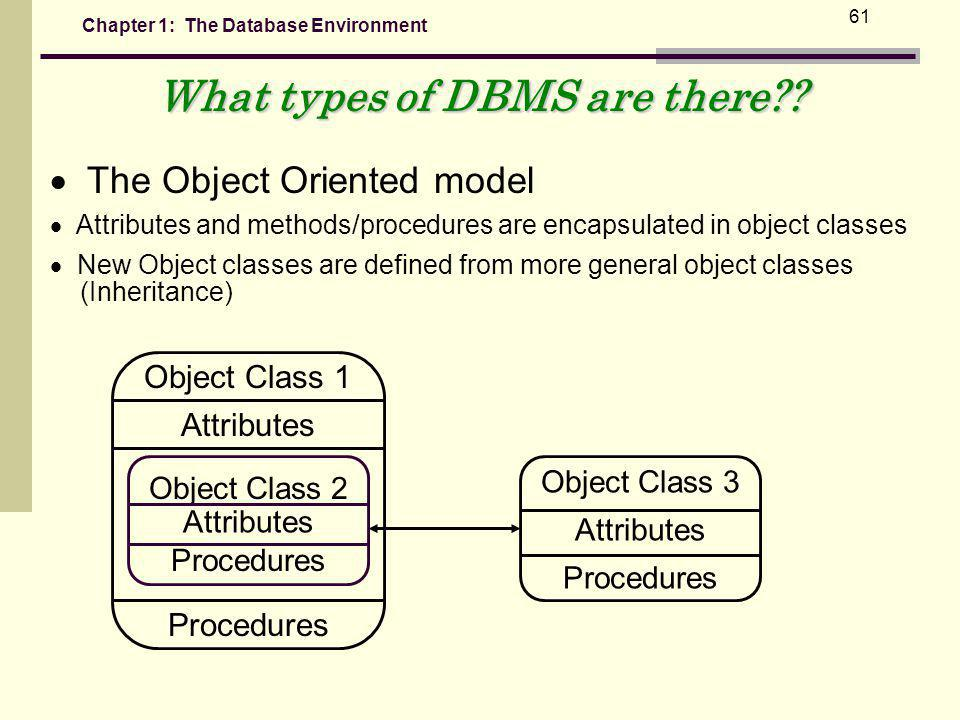 Chapter 1: The Database Environment 61 What types of DBMS are there?.