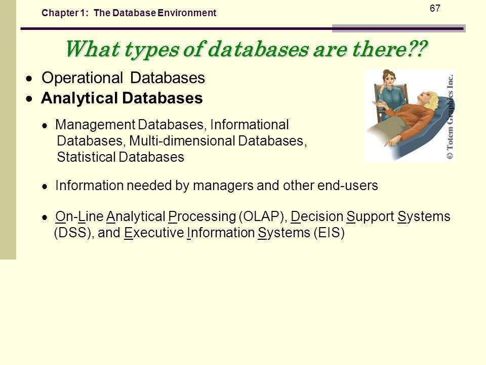 Chapter 1: The Database Environment 67 What types of databases are there?.
