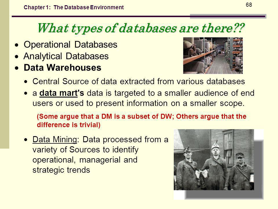 Chapter 1: The Database Environment 68 What types of databases are there?.