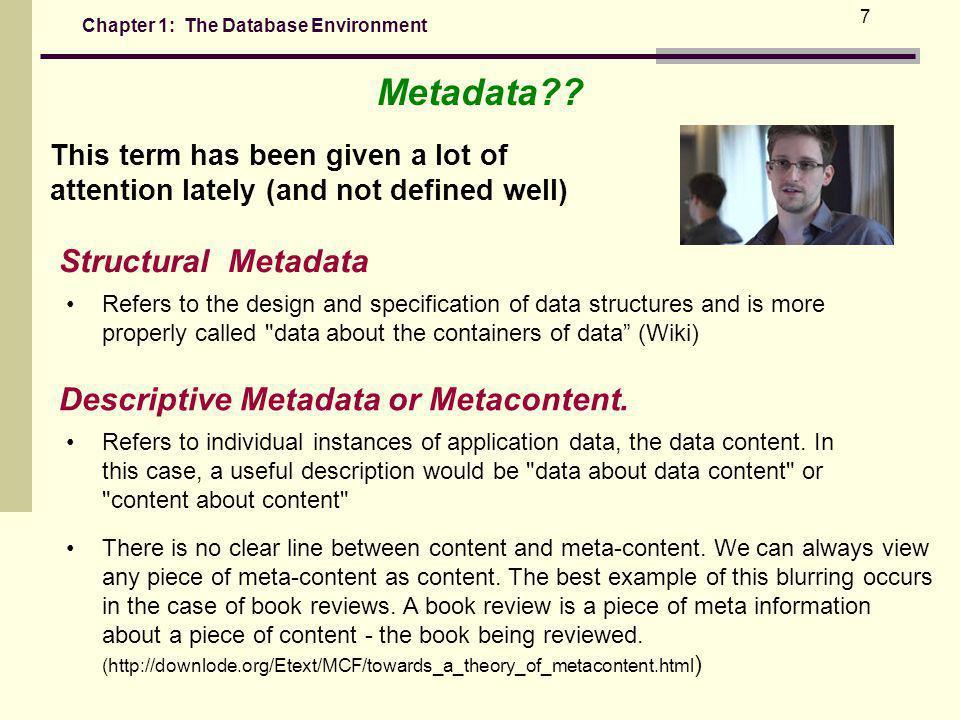 Chapter 1: The Database Environment 7 Metadata?.