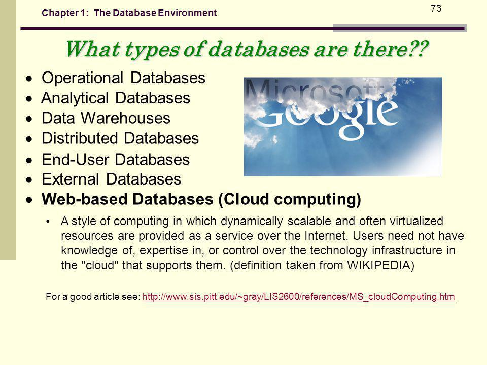 Chapter 1: The Database Environment 73 What types of databases are there?.