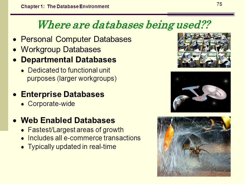 Chapter 1: The Database Environment 75 Where are databases being used?.