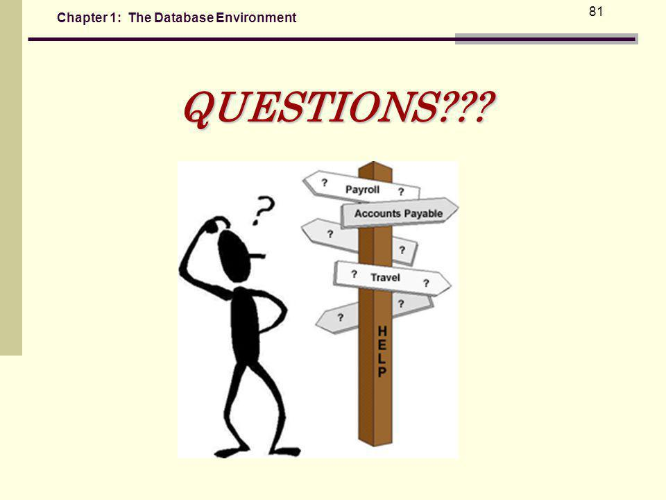 Chapter 1: The Database Environment 81QUESTIONS???