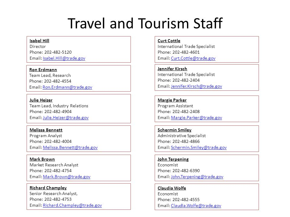 Travel and Tourism Staff Isabel Hill Director Phone: 202-482-5120 Email: Isabel.Hill@trade.govIsabel.Hill@trade.gov Ron Erdmann Team Lead, Research Ph