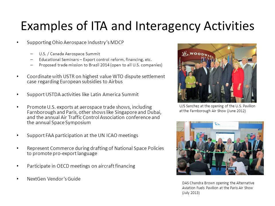 Examples of ITA and Interagency Activities Supporting Ohio Aerospace Industrys MDCP – U.S. / Canada Aerospace Summit – Educational Seminars – Export c