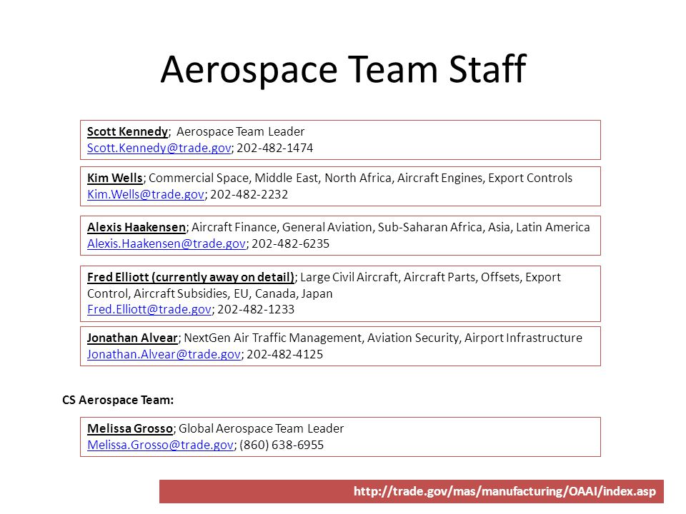 Aerospace Team Staff Scott Kennedy; Aerospace Team Leader Scott.Kennedy@trade.govScott.Kennedy@trade.gov; 202-482-1474 Kim Wells; Commercial Space, Mi