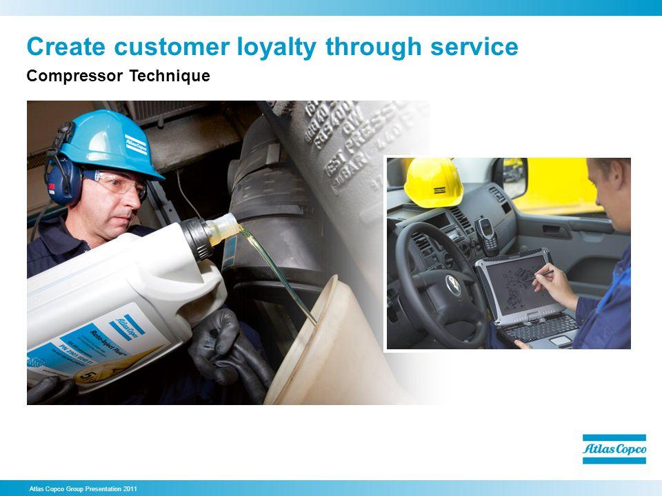 Create customer loyalty through service Atlas Copco Group Presentation 2011 Compressor Technique