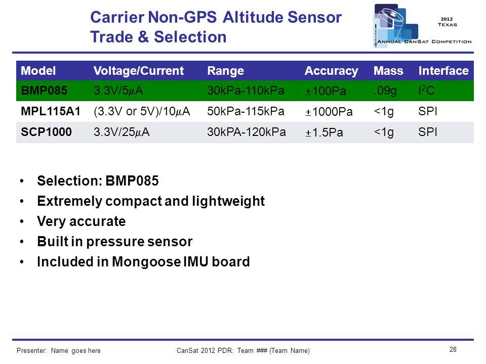 CanSat 2012 PDR: Team ### (Team Name) 28 Carrier Non-GPS Altitude Sensor Trade & Selection Presenter: Name goes here ModelVoltage/CurrentRangeAccuracy