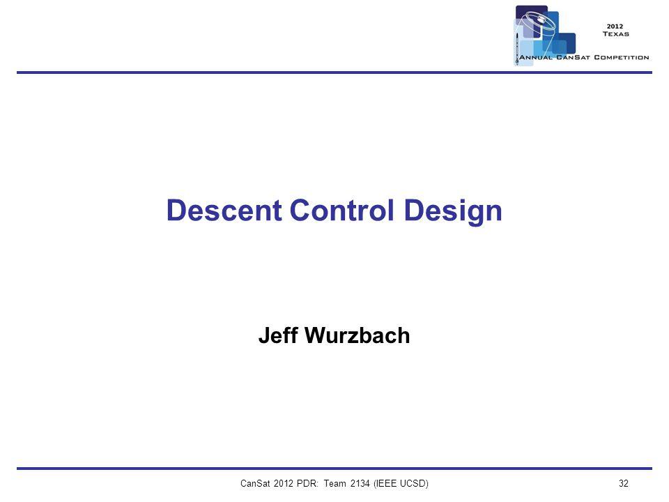 CanSat 2012 PDR: Team 2134 (IEEE UCSD)32 Descent Control Design Jeff Wurzbach