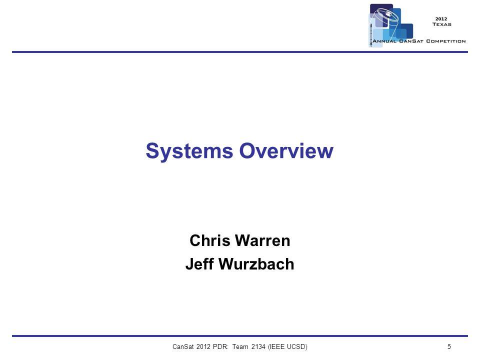 CanSat 2012 PDR: Team 2134 (IEEE UCSD)5 Systems Overview Chris Warren Jeff Wurzbach