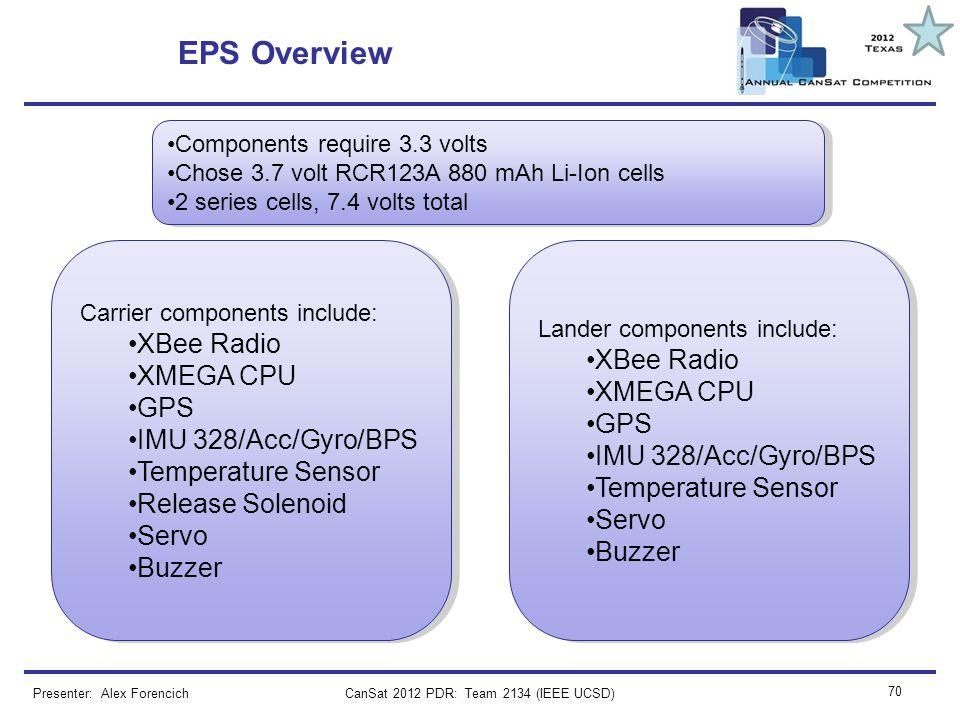 CanSat 2012 PDR: Team 2134 (IEEE UCSD) 70 EPS Overview Presenter: Alex Forencich Components require 3.3 volts Chose 3.7 volt RCR123A 880 mAh Li-Ion ce