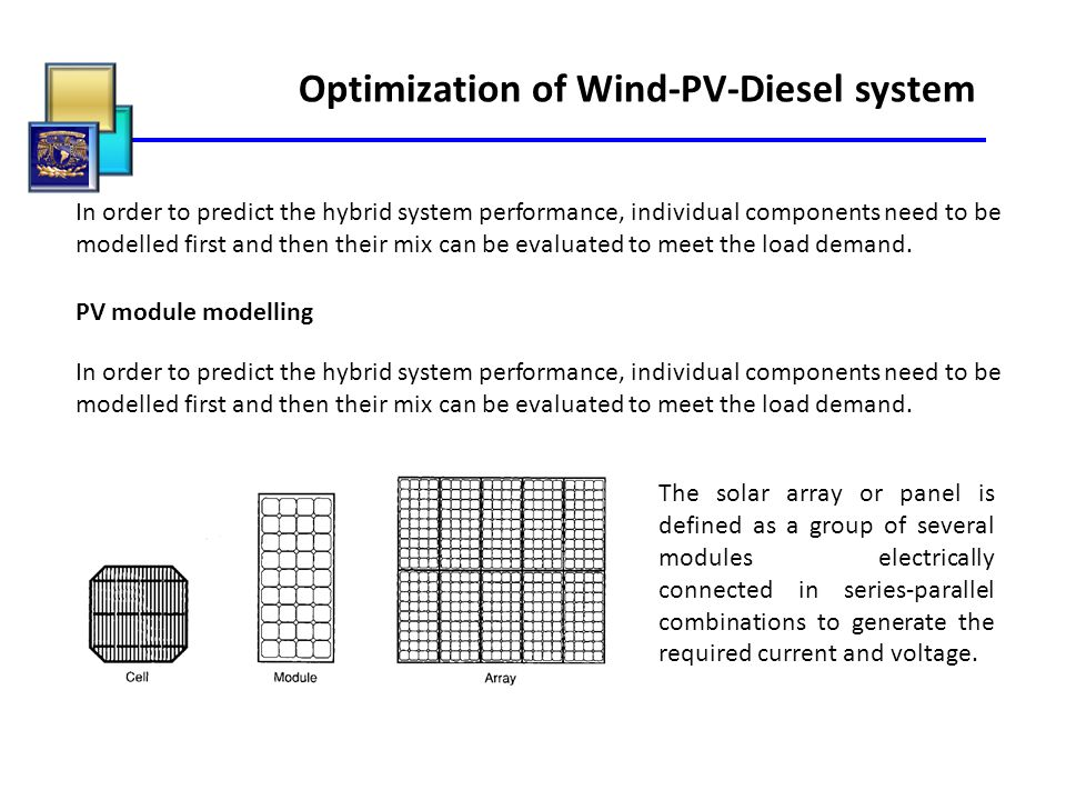 Optimization of Wind-PV-Diesel system In order to predict the hybrid system performance, individual components need to be modelled first and then thei