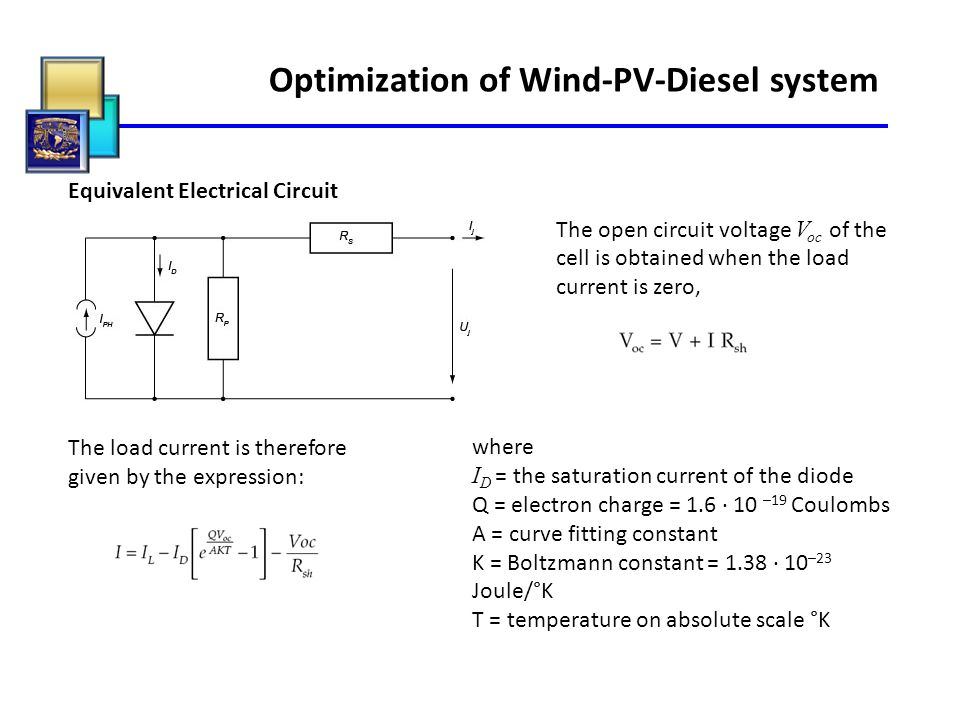 Optimization of Wind-PV-Diesel system Equivalent Electrical Circuit The open circuit voltage V oc of the cell is obtained when the load current is zer