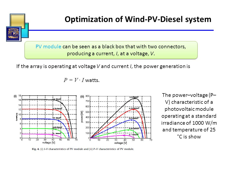 Optimization of Wind-PV-Diesel system PV module can be seen as a black box that with two connectors, producing a current, I, at a voltage, V. If the a
