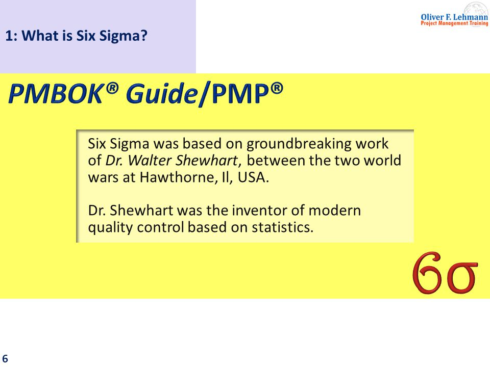 6 Six Sigma was based on groundbreaking work of Dr.