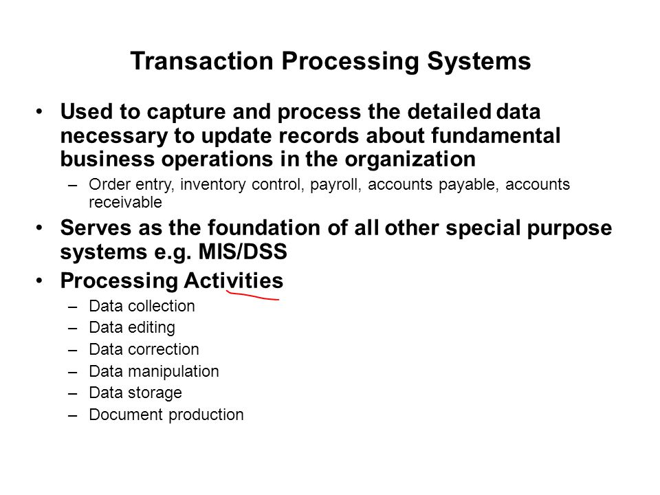 Transaction Processing Systems Special Information Systems MIS/DSS TPS Information Data