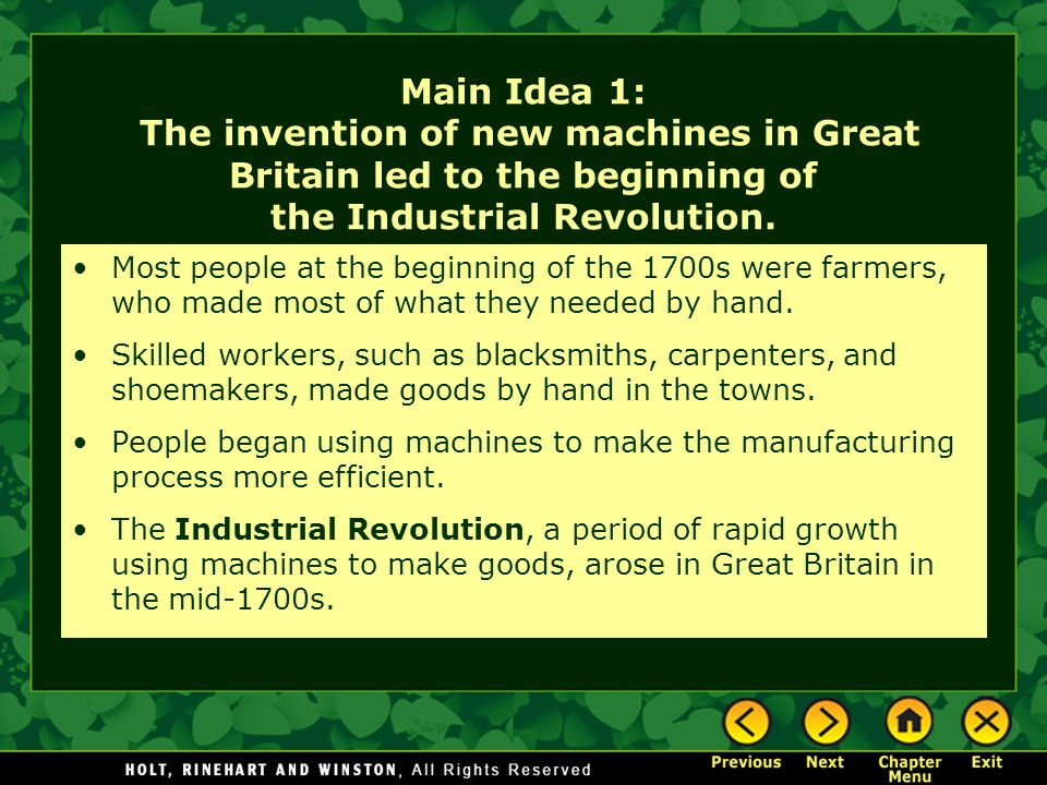 8.6.1 The Transportation Revolution The Big Idea New forms of transportation improved business, travel, and communications in the United States.