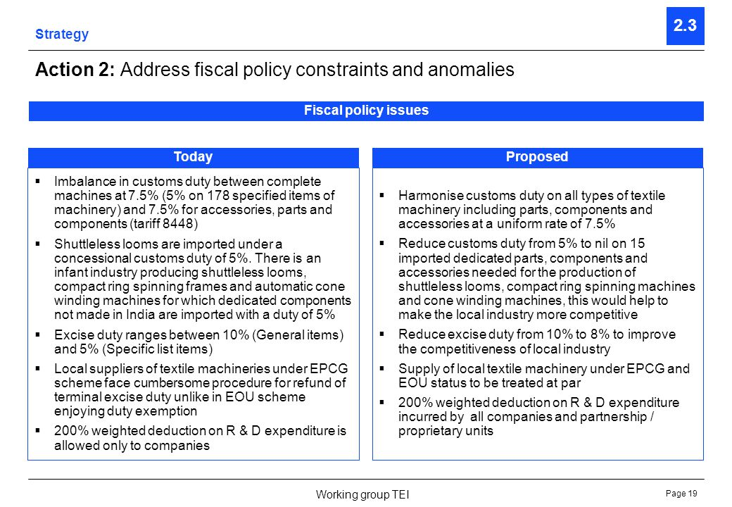 Page 19 Working group TEI Strategy 2.3 Action 2: Address fiscal policy constraints and anomalies Fiscal policy issues TodayProposedTodayProposed Imbal