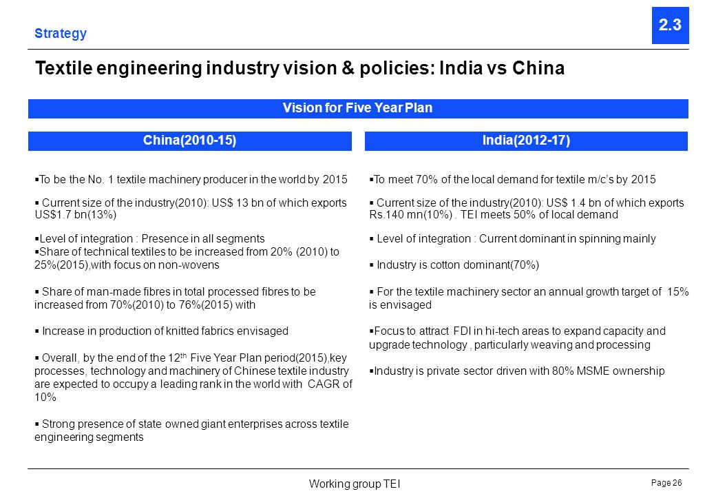 Page 26 Working group TEI Strategy 2.3 Textile engineering industry vision & policies: India vs China Vision for Five Year Plan China(2010-15)India(20