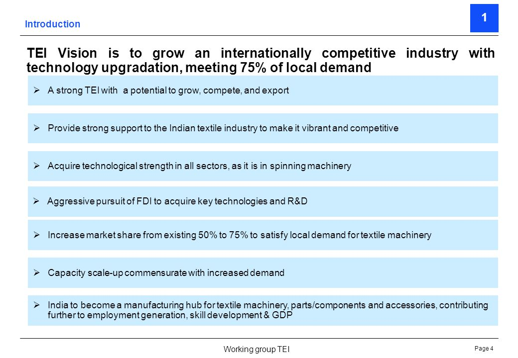 Page 4 Working group TEI TEI Vision is to grow an internationally competitive industry with technology upgradation, meeting 75% of local demand 1 A st