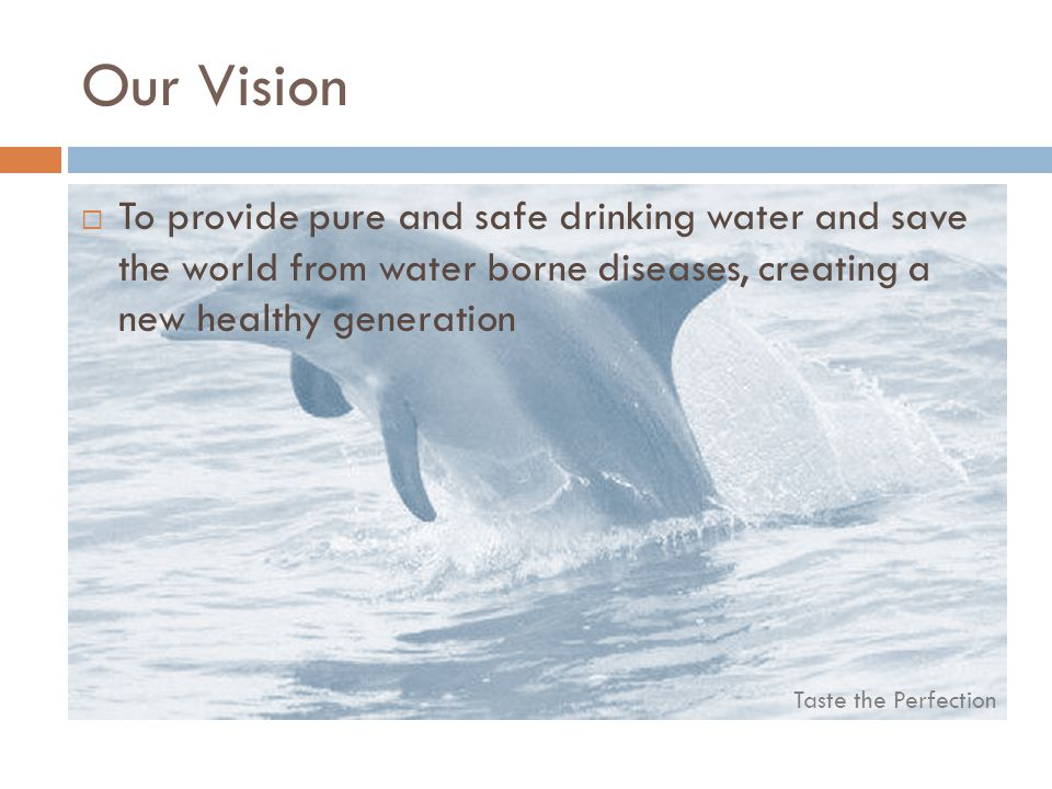 Taste the Perfection Our Vision To provide pure and safe drinking water and save the world from water borne diseases, creating a new healthy generatio