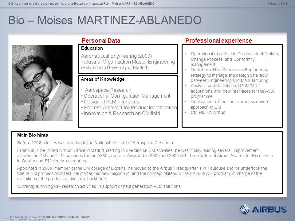 © AIRBUS Operations S.A.S. All rights reserved. Confidential and proprietary document. Bio – Moises MARTINEZ-ABLANEDO February 2012CM like a transvers