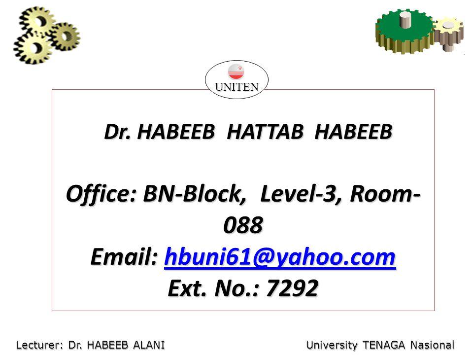 Dr. HABEEB HATTAB HABEEB Dr. HABEEB HATTAB HABEEB Office: BN-Block, Level-3, Room- 088 Email: hbuni61@yahoo.com hbuni61@yahoo.com Ext. No.: 7292 UNITE
