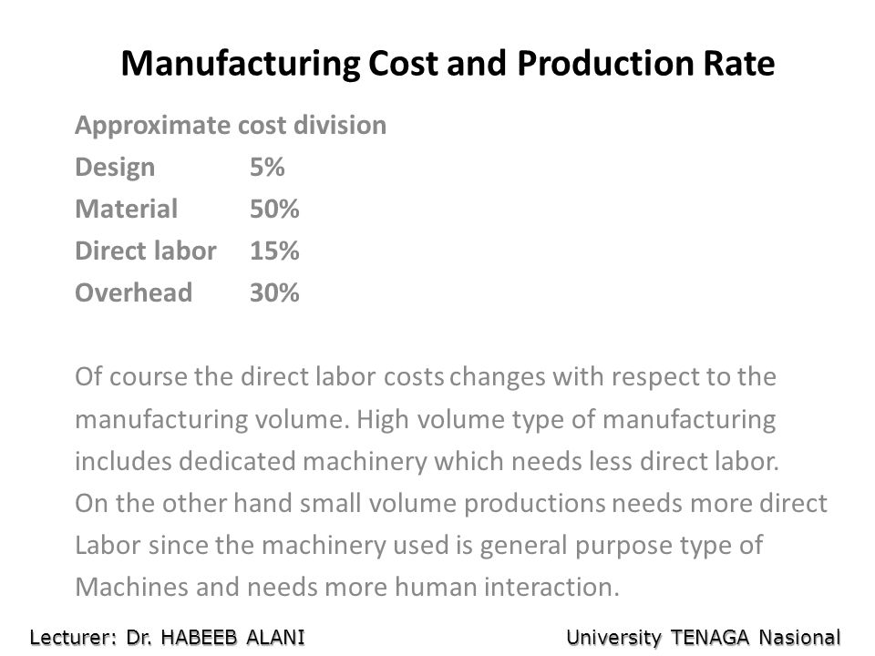 Manufacturing Cost and Production Rate Approximate cost division Design5% Material50% Direct labor15% Overhead30% Of course the direct labor costs cha