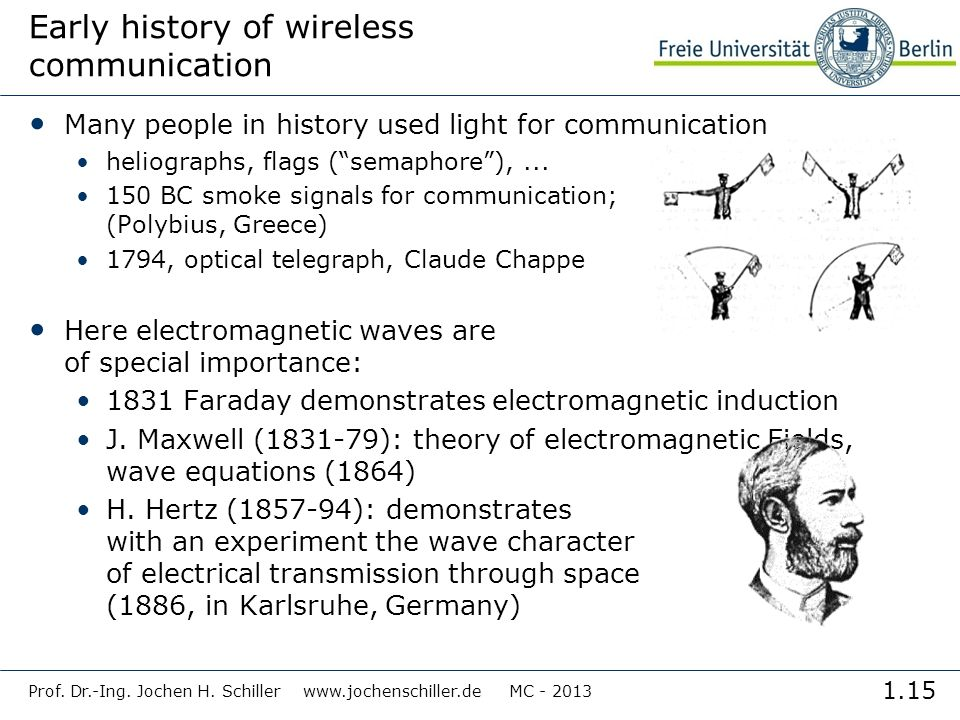 1.15 Prof. Dr.-Ing. Jochen H. Schiller www.jochenschiller.de MC - 2013 Early history of wireless communication Many people in history used light for c