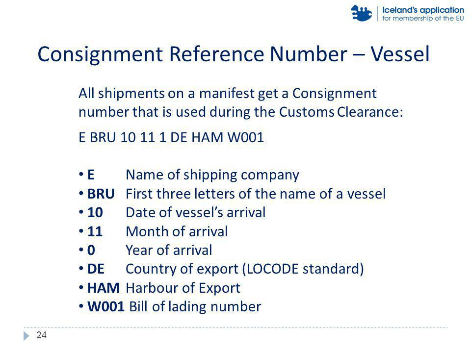 All shipments on a manifest get a Consignment number that is used during the Customs Clearance: E BRU 10 11 1 DE HAM W001 EName of shipping company BRUFirst three letters of the name of a vessel 10Date of vessels arrival 11Month of arrival 0Year of arrival DECountry of export (LOCODE standard) HAMHarbour of Export W001 Bill of lading number Consignment Reference Number – Vessel 24