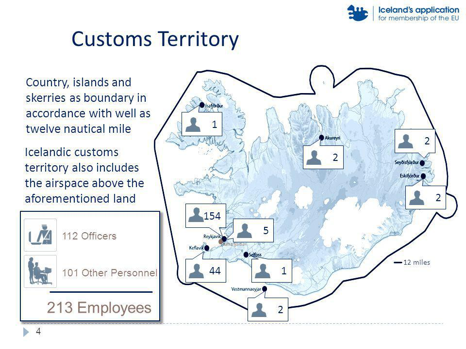 Customs Territory Country, islands and skerries as boundary in accordance with well as twelve nautical mile Icelandic customs territory also includes the airspace above the aforementioned land 12 miles Hafnarfjörður 44 2 1 2 2 2 1 154 5 4 112 Officers 101 Other Personnel 213 Employees