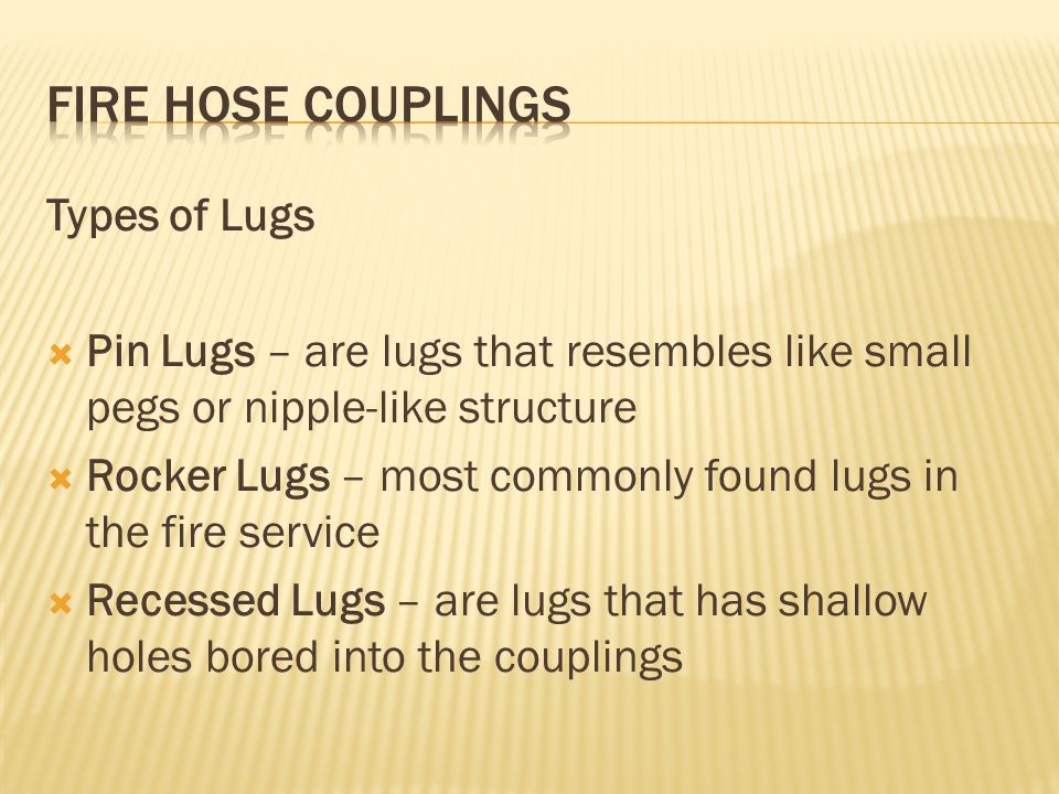 Types of Lugs Pin Lugs – are lugs that resembles like small pegs or nipple-like structure Rocker Lugs – most commonly found lugs in the fire service R