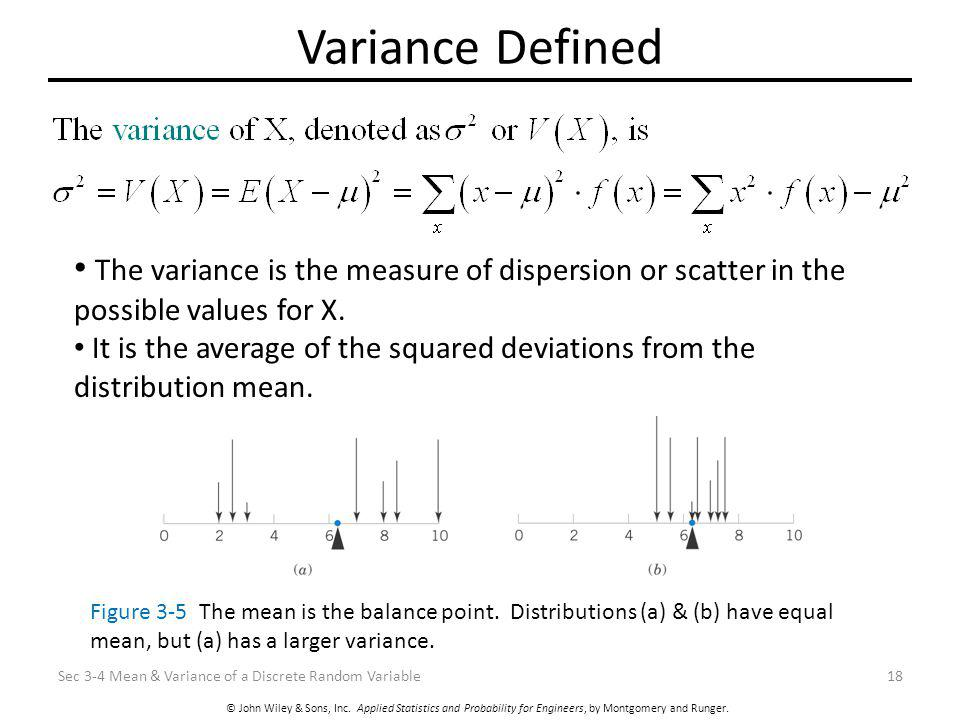 © John Wiley & Sons, Inc. Applied Statistics and Probability for Engineers, by Montgomery and Runger. Variance Defined Sec 3-4 Mean & Variance of a Di