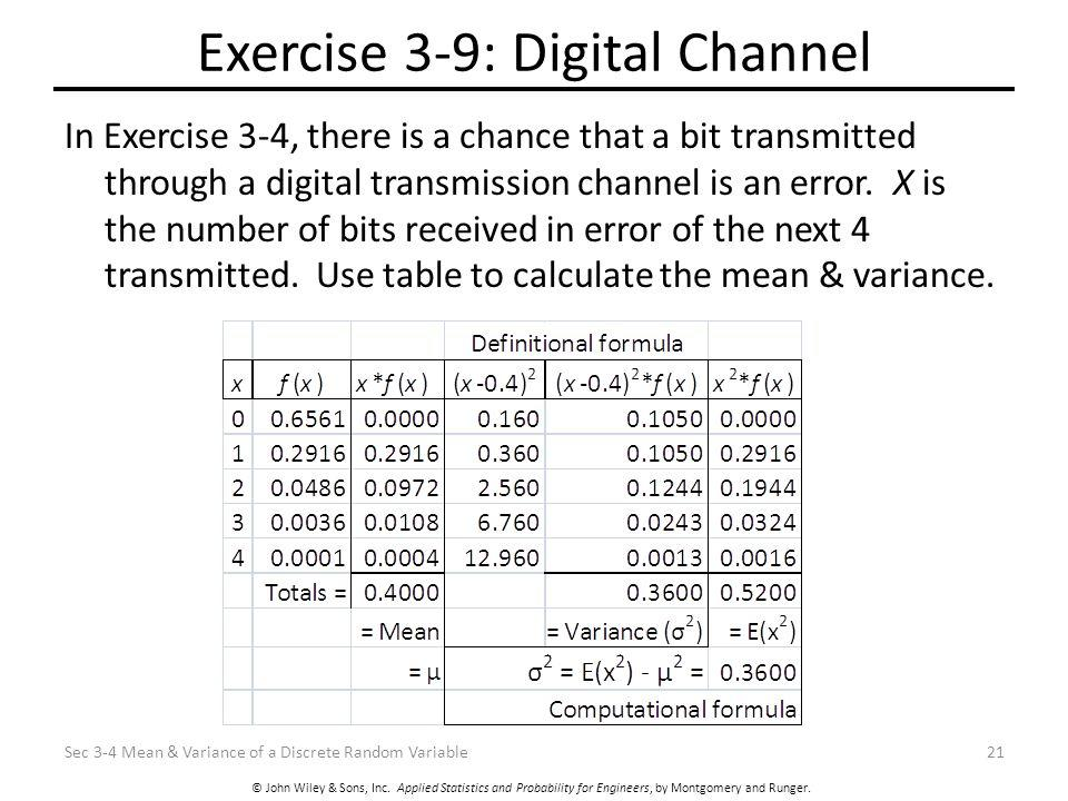 © John Wiley & Sons, Inc. Applied Statistics and Probability for Engineers, by Montgomery and Runger. Exercise 3-9: Digital Channel In Exercise 3-4, t