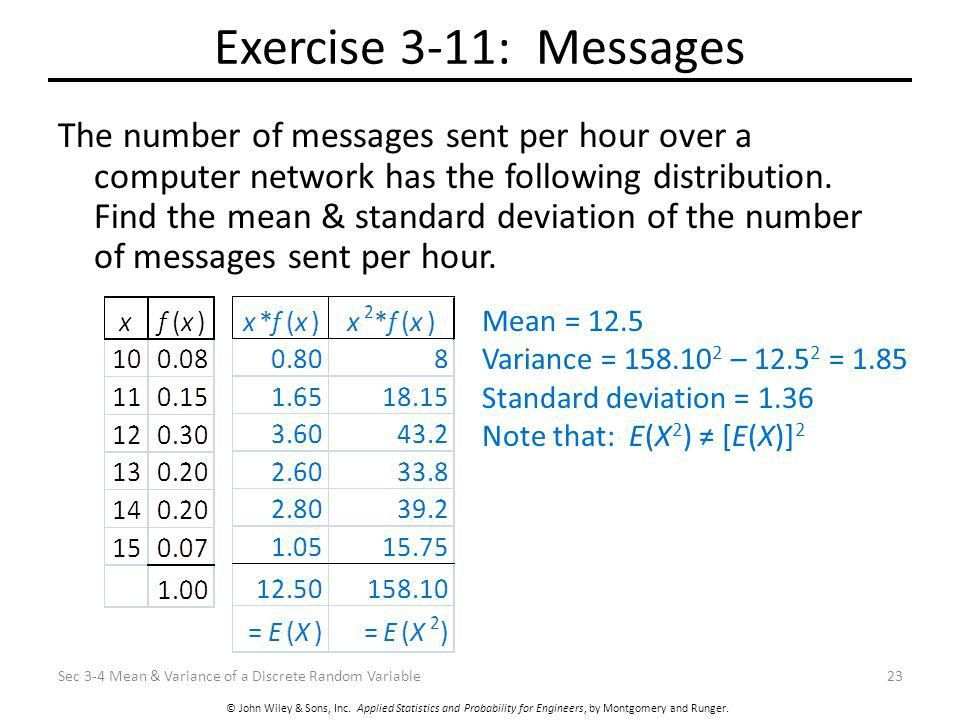 © John Wiley & Sons, Inc. Applied Statistics and Probability for Engineers, by Montgomery and Runger. Exercise 3-11: Messages The number of messages s