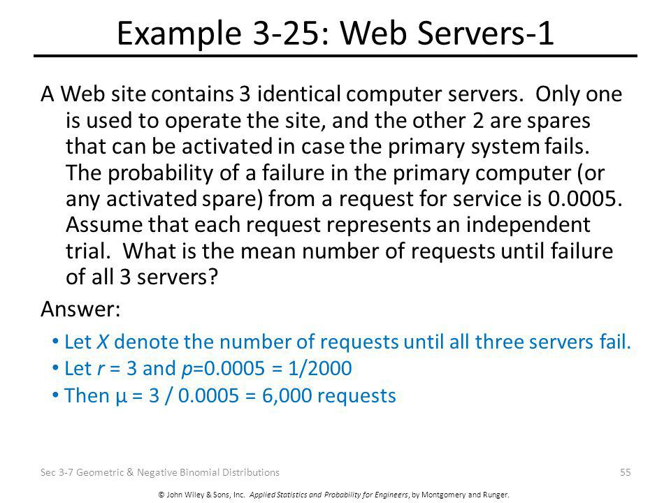 © John Wiley & Sons, Inc. Applied Statistics and Probability for Engineers, by Montgomery and Runger. Example 3-25: Web Servers-1 A Web site contains
