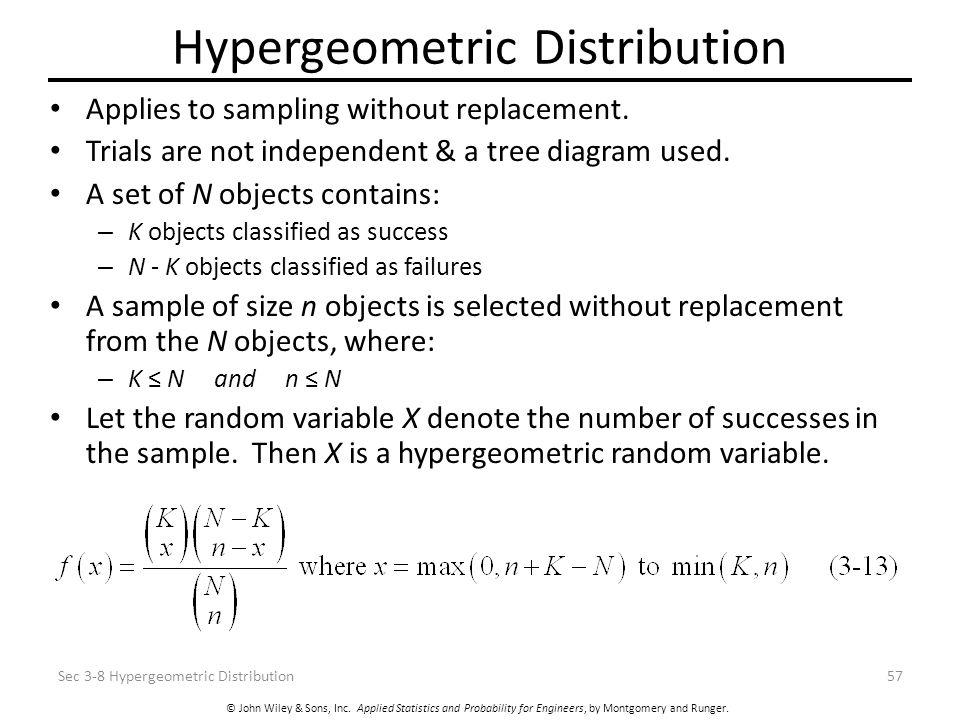 © John Wiley & Sons, Inc. Applied Statistics and Probability for Engineers, by Montgomery and Runger. Hypergeometric Distribution Applies to sampling