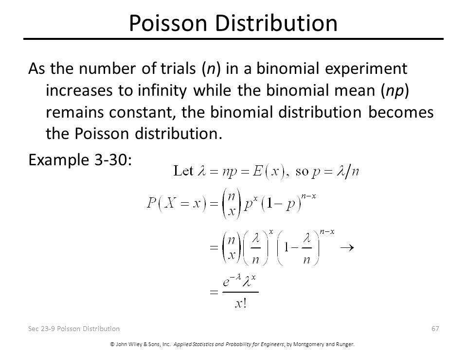 © John Wiley & Sons, Inc. Applied Statistics and Probability for Engineers, by Montgomery and Runger. Poisson Distribution As the number of trials (n)