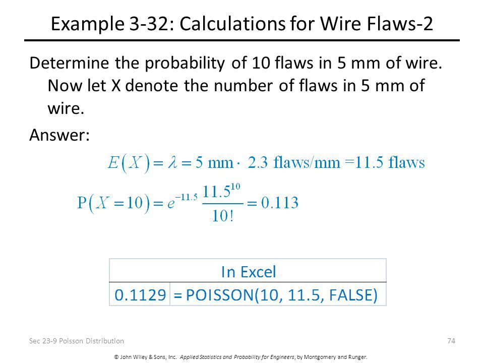 © John Wiley & Sons, Inc. Applied Statistics and Probability for Engineers, by Montgomery and Runger. Example 3-32: Calculations for Wire Flaws-2 Dete