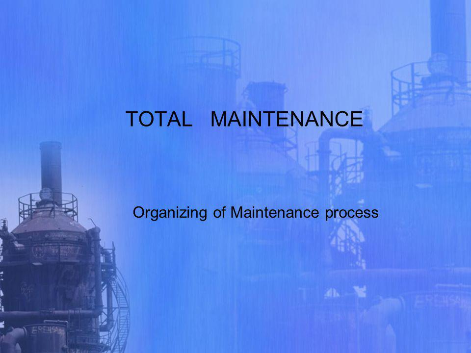 TOTAL MAINTENANCE Organizing of Maintenance process