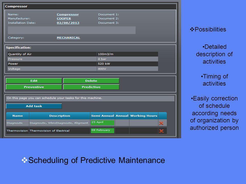 Scheduling of Predictive Maintenance Possibilities Detailed description of activities Timing of activities Easily correction of schedule according needs of organization by authorized person