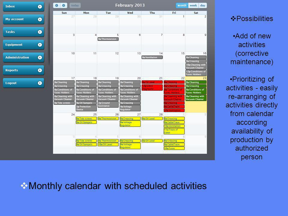 Monthly calendar with scheduled activities Possibilities Add of new activities (corrective maintenance) Prioritizing of activities - easily re-arranging of activities directly from calendar according availability of production by authorized person
