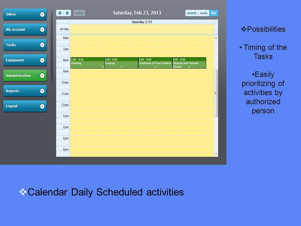Calendar Daily Scheduled activities Possibilities Timing of the Tasks Easily prioritizing of activities by authorized person