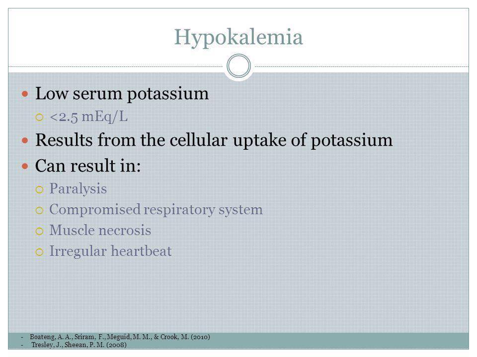 Hypokalemia -Boateng, A. A., Sriram, F., Meguid, M. M., & Crook, M. (2010) - Tresley, J., Sheean, P. M. (2008) Low serum potassium <2.5 mEq/L Results