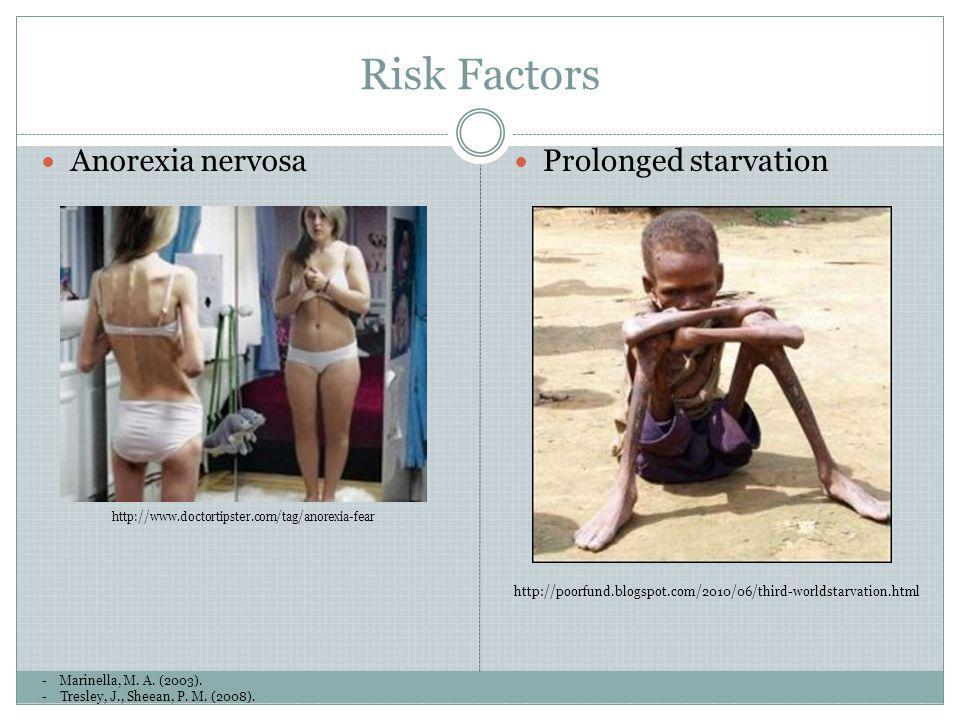 Risk Factors -Marinella, M. A. (2003). -Tresley, J., Sheean, P. M. (2008). Anorexia nervosa http://www.doctortipster.com/tag/anorexia-fear Prolonged s
