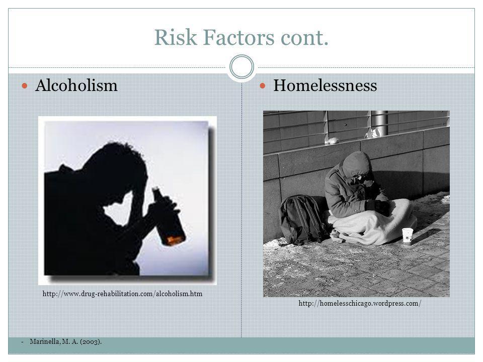 Risk Factors cont. -Marinella, M. A. (2003). Alcoholism http://www.drug-rehabilitation.com/alcoholism.htm Homelessness http://homelesschicago.wordpres