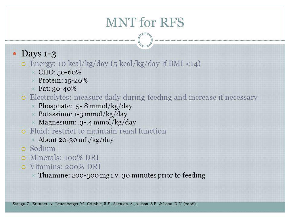 MNT for RFS Stanga, Z., Brunner, A., Leuenberger, M., Grimble, R.F., Shenkin, A., Allison, S.P., & Lobo, D.N. (2008). Days 1-3 Energy: 10 kcal/kg/day