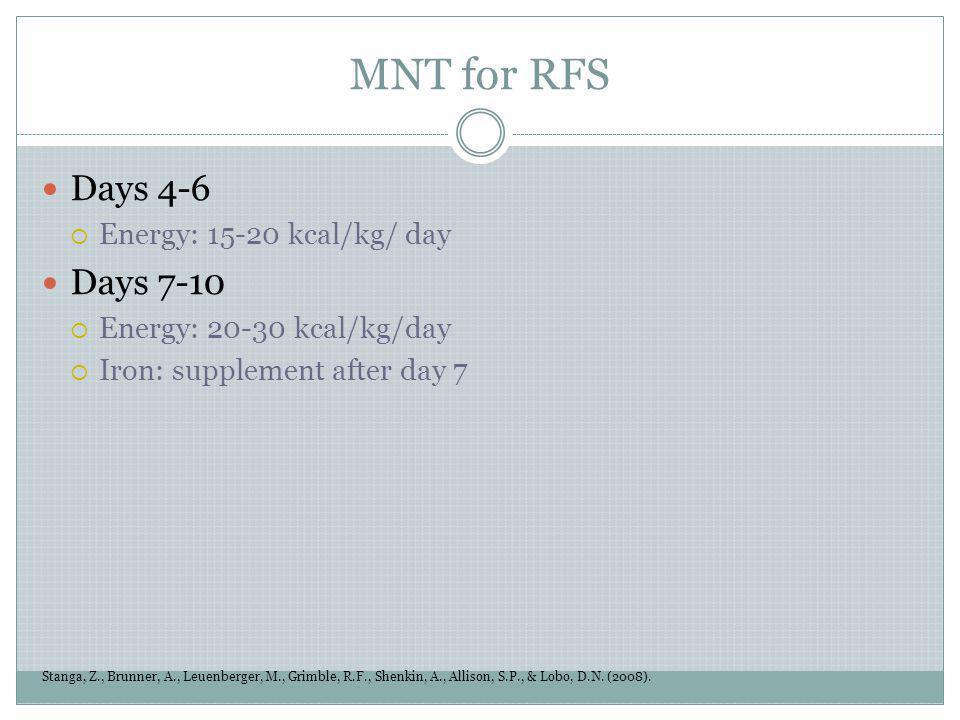 MNT for RFS Stanga, Z., Brunner, A., Leuenberger, M., Grimble, R.F., Shenkin, A., Allison, S.P., & Lobo, D.N. (2008). Days 4-6 Energy: 15-20 kcal/kg/